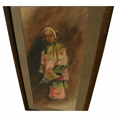 Early California watercolor painting young Chinese girl style of Esther Anna Hunt