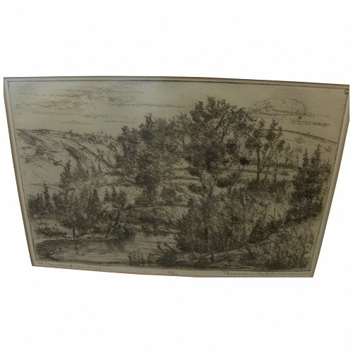 "BRANSON STEVENSON (1901-1989) etching ""Willow Creek Country"" by noted Montana artist"