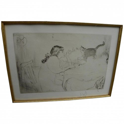 "LOUIS LEGRAND (1863-1951) drypoint etching ""Chattes"" 1909 limited edition signed"
