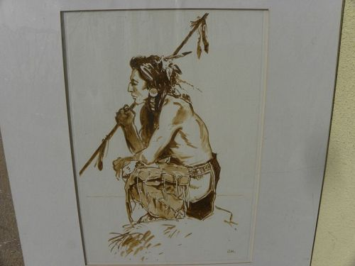 Native American watercolor painting brave warrior contemporary artist