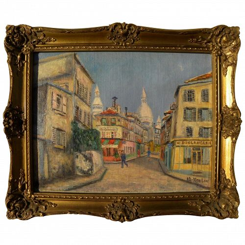 Paris Montmartre signed mid century painting in style of Utrillo