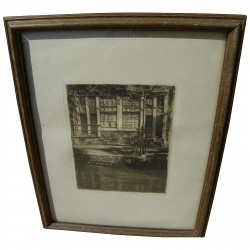 WILLEM GERARD HOFKER (1902-1981) pencil signed etching of Amsterdam architecture by Dutch artist renowned for Bali art