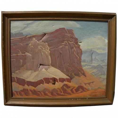 RALPH HOLMES (1876-1963) impressionist painting of Southwest arid landscape Capitol Reef NP Utah