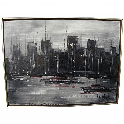 Mid-Century signed modern painting of big city skyline