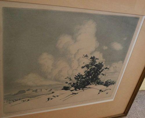 GEORGE ELBERT BURR (1859-1939) Southwestern American artist fine etching of Arizona desert