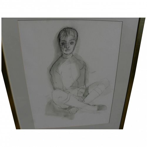 ROGER KUNTZ (1926-1975) California art original mixed media drawing of a figure