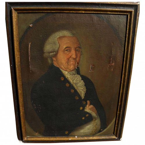 Circa 1800 Germanic antique portrait painting of a noble gentleman