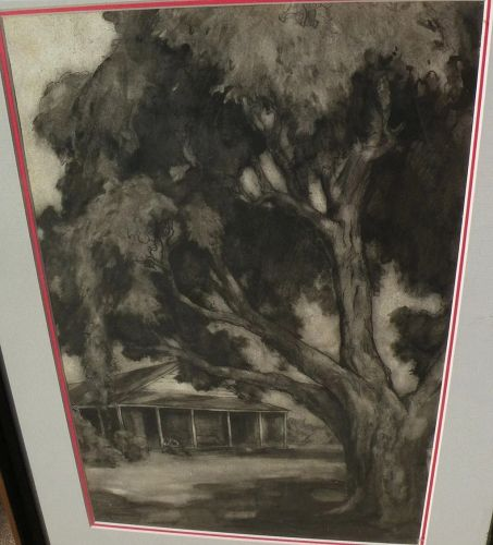 Fine charcoal and ink landscape drawing of old house with tree likely California