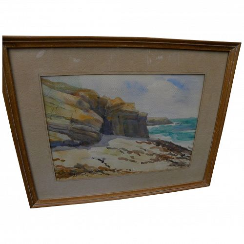 GLADYS DAY early 20th century California art impressionist watercolor La Jolla painting