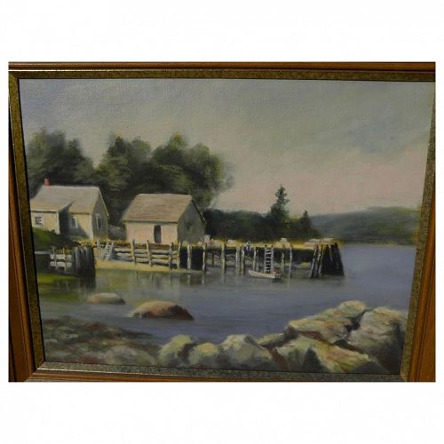 Impressionist American painting of Lobster Cove (New England) signed James Carson