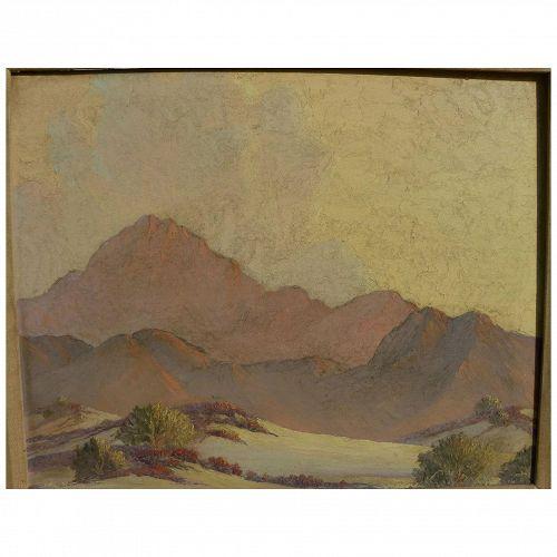 California plein air art desert signed oil painting in style of John Hilton