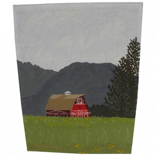Alaskan art painting of red barn in Matanuska Valley signed Ted Goldstone 1969