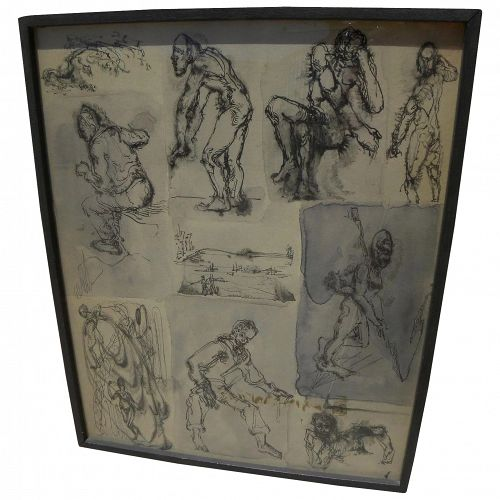 American signed ink figural drawings mid 20th century