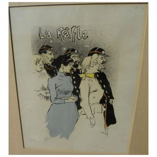 "THEOPHILE STEINLEN (1859-1923) pencil signed lithograph ""La Rafle"" 1894 by the well known Swiss graphic artist"