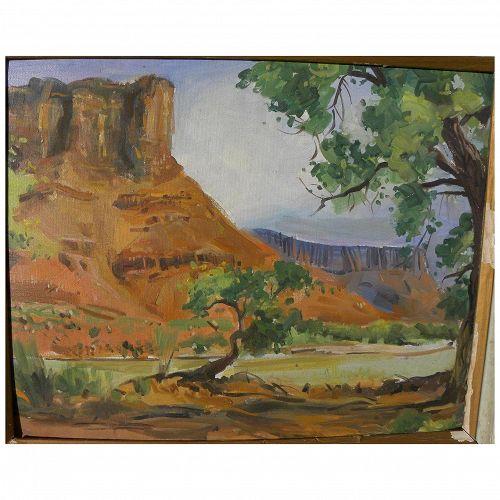 Southwest vintage landscape painting of dramatic red rock canyon probably Arizona