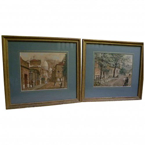 AMEDEE PREVOST (20th century French) **pair** watercolor paintings of Paris Montmartre scenes