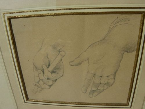 Antique pencil study drawing hands