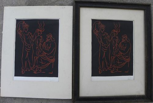 "ANDRE DERAIN (1880-1954) two wood engraving prints ""L'Enfant"" stamped"