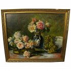 French impressionist 19th century floral still life painting signed Billou