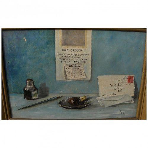 American vintage trompe l'oeil still life painting