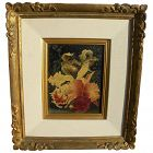 Fine contemporary signed trompe l'oeil painting of orchids