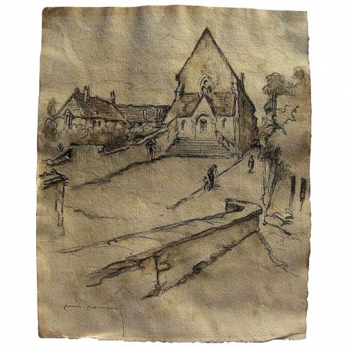 RENE ROUSSEL (1885-1962) French art old mixed media drawing of a church and village square