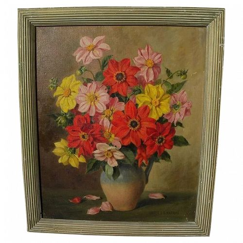 English 20th century still life oil painting by listed artist Leslie S. G. Harries