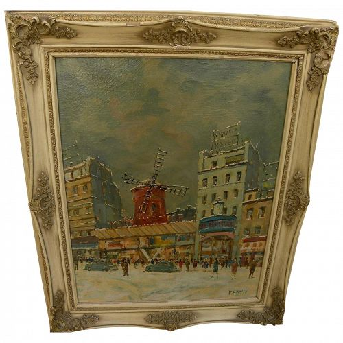 Paris Montmartre Moulin Rouge in the snow impressionist painting signed Fantin