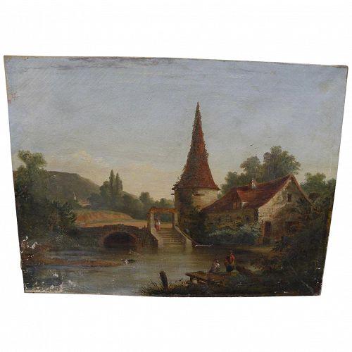 Circa 1860 antique classical landscape painting English or American origin