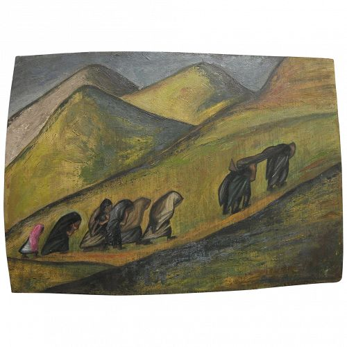ALICIA BUSTAMANTE VERNAL (1907-1968) landscape painting with figures by major Peruvian artist