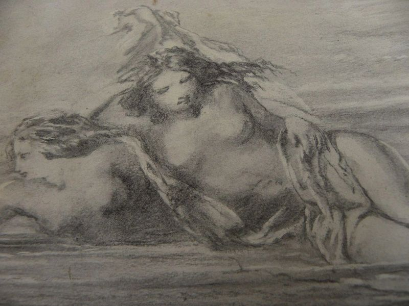 Antique charcoal drawing of four women in beach surf