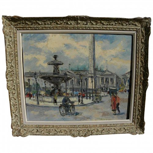 Paris 1950's vintage impressionist oil painting of Place de la Concorde