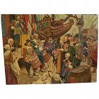 After illustrator DEAN CORNWELL (1892-1960) large painting commemorating 300th anniversary of New York founding