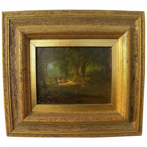 Small 19th century oil on panel painting of figures strolling in a forest
