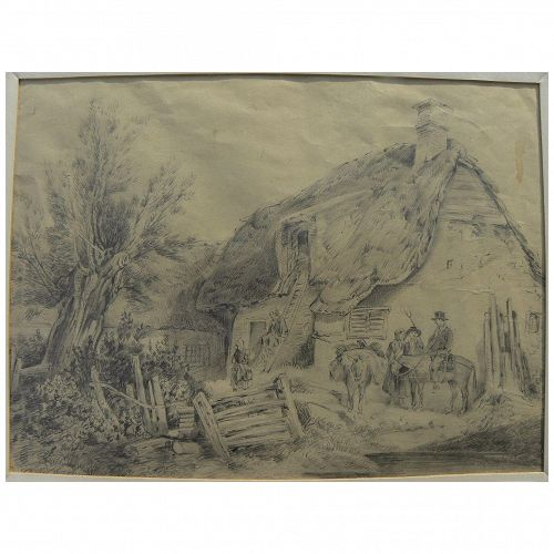 English circa 1830 pencil drawing of figures outside a thatched cottage