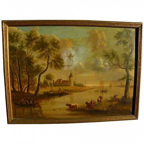 Nineteenth century European country landscape with cows and figures signed dated 1858