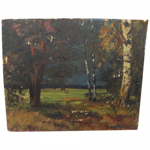 OSWALD SCHLOMBS (1876-1926) impressionist oil landscape painting