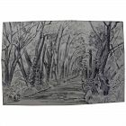 """ISOLDE THERESE GILBERT (1907-1986) vintage ink drawing """"Wooded Road"""""""