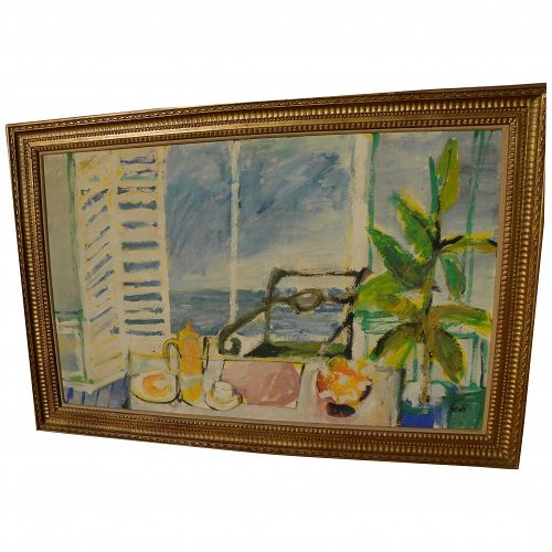 Contemporary European painting of sunny breezy seaside interior signed SARDI