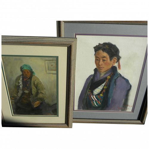 PAIR Southeast Asian paintings of figures signed 1990