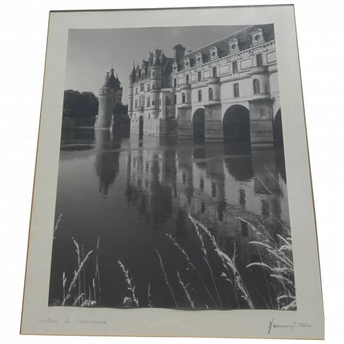 Chateau de Chenonceau black and white signed vintage photograph Loire Valley