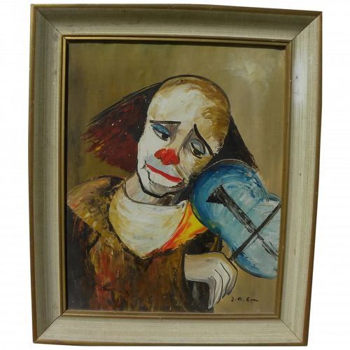 Signed clown painting mid century Retro style