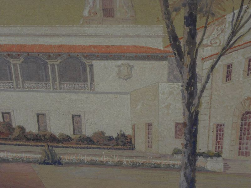 Signed San Diego California original vintage gouache painting of Balboa Park architecture