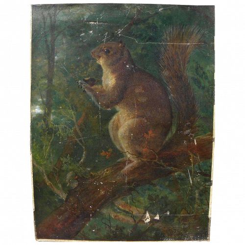 CHARLES THEMMEN charming American 1878 painting of a squirrel