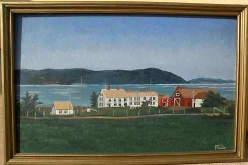 Naive art folky coastal scene painting signed Martha Crosmer