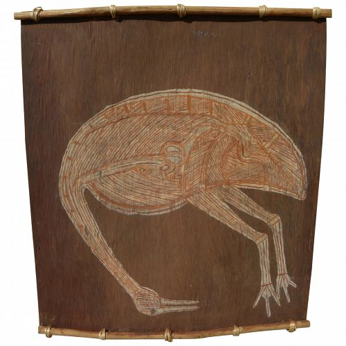 Australian aboriginal art bark painting of emu