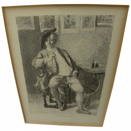 """After renowned French artist JEAN-LOUIS-ERNEST MEISSONIER (1815-1891) fine etching """"The Smoker"""""""