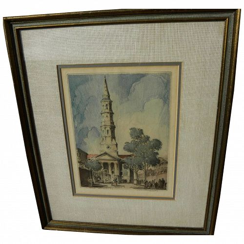 LEON PESCHERET (1892-1971) scarce pencil signed color etching of St. Philips Church in Charleston South Carolina