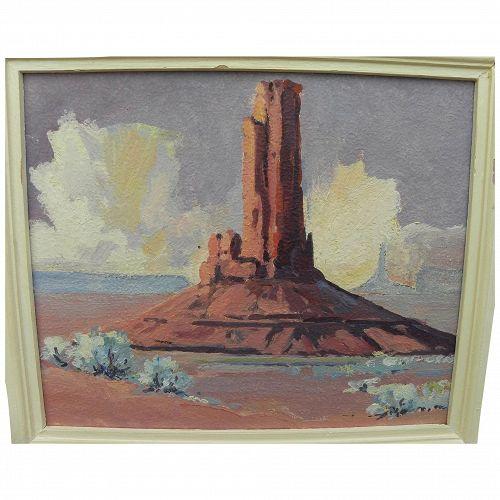 Vintage Southwest art impressionist painting of Monument Valley Arizona