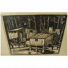 JESSIE ARMS BOTKE (1883-1971) pencil signed linocut print by major California woman artist